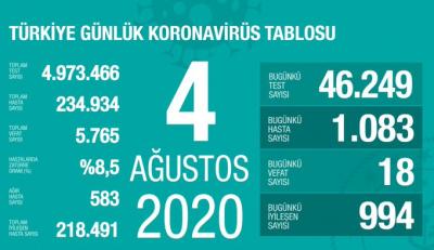 Türkiye'de vaka sayısı 234 bin 934, ölüm sayısı 5 bin 765 olarak açıklandı