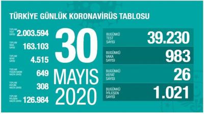 Türkiye'de vaka sayısı 163 bin 103, can kaybı  4 bin 515'e yükseldi