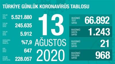 Türkiye'de vaka sayısı 245 bin 635, ölüm sayısı 5 bin 912 olarak açıklandı