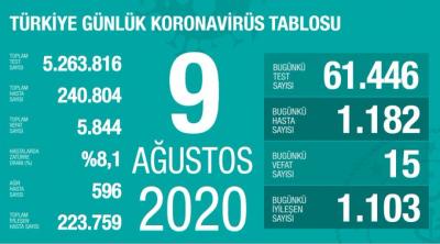 Türkiye'de vaka sayısı 240 bin 804, ölüm sayısı 5 bin 844 olarak açıklandı