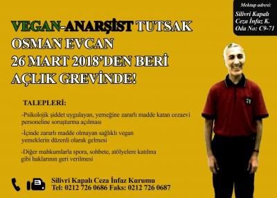 Vegan mahkum Osman Evcan yeniden açlık grevinde