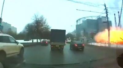 Rusya'da patlama anı kameralara böyle yansıdı